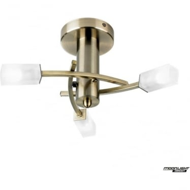 Havana 3 light semi flush fitting - Antique brass & frosted glass