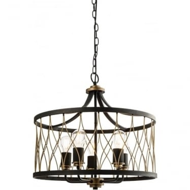 Heston 5 light pendant - matt black & rustic bronze
