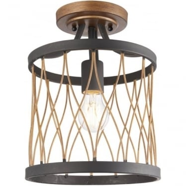 Heston single light semi flush fitting - Matt black & rustic bronze