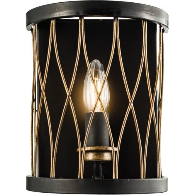 Endon Lighting Heston single wall light - Matt black & rustic bronze