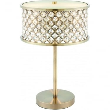 Hudson 2 light table lamp - antique brass & clear crystal with frosted glass diffuser