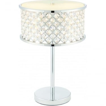Hudson 2 light table lamp - chrome plate & clear crystal with frosted glass diffuser