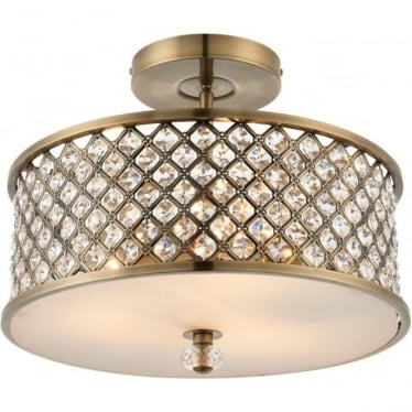 Hudson 3 light semi flush fitting - Antique brass