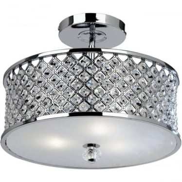 Hudson 3 light semi flush fitting - Chrome plate