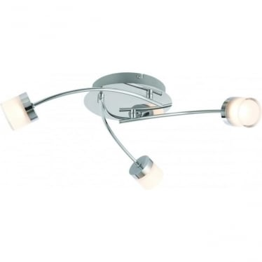 Ikos LED 3 light semi flush fitting - Chrome plate with clear & frosted acrylic