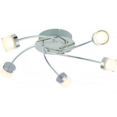 Ikos LED 5 light semi flush fitting - Chrome plate with clear & frosted acrylic