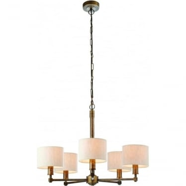 Indara 5 light pendant - Aged hammered bronze effect plate & natural linen