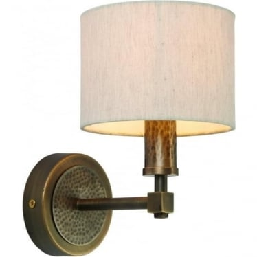 Indara single light wall fitting - Aged hammered bronze effect plate & natural linen