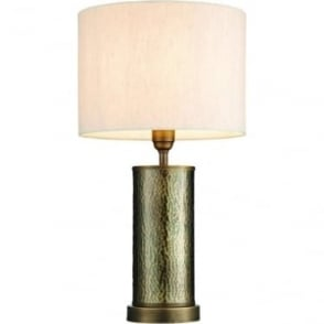 Indara table lamp - Aged hammered bronze effect plate & natural linen