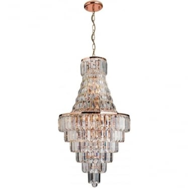 Innsbruck 18 light pendant - Rose gold & Asfour lead crystal