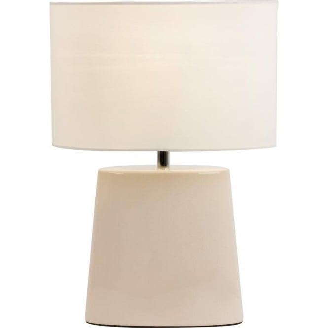Endon Lighting Iris Table Lamp - Cream Crackle Ceramic & Cream Cotton Mix