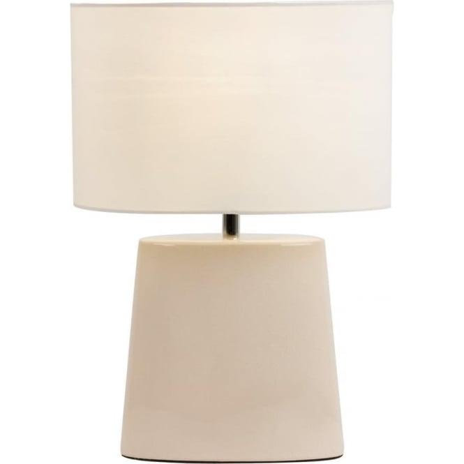 Endon Lighting Iris Table Lamp - Cream Crackle Ceramic & Cream Cotton Mix