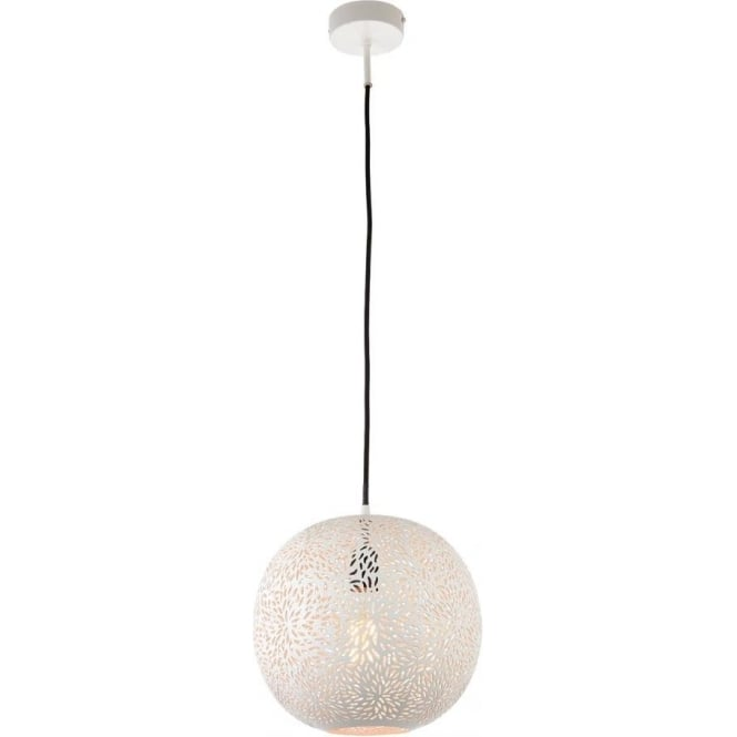 Endon Lighting Javarone Single Pendant - Matt White Finish