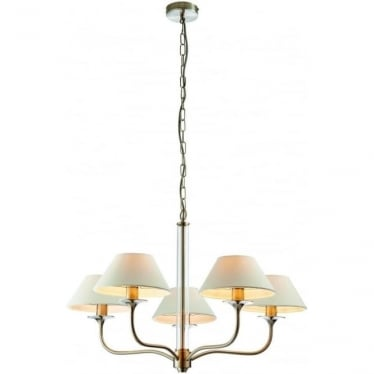 Kingston 5 light pendant - Satin nickel with clear glass & vintage white faux linen shade
