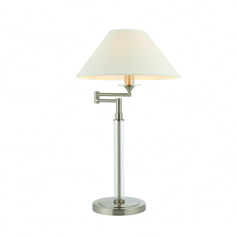 Endon Lighting Kingston Swing Arm Table Lamp Satin Nickel With Clear