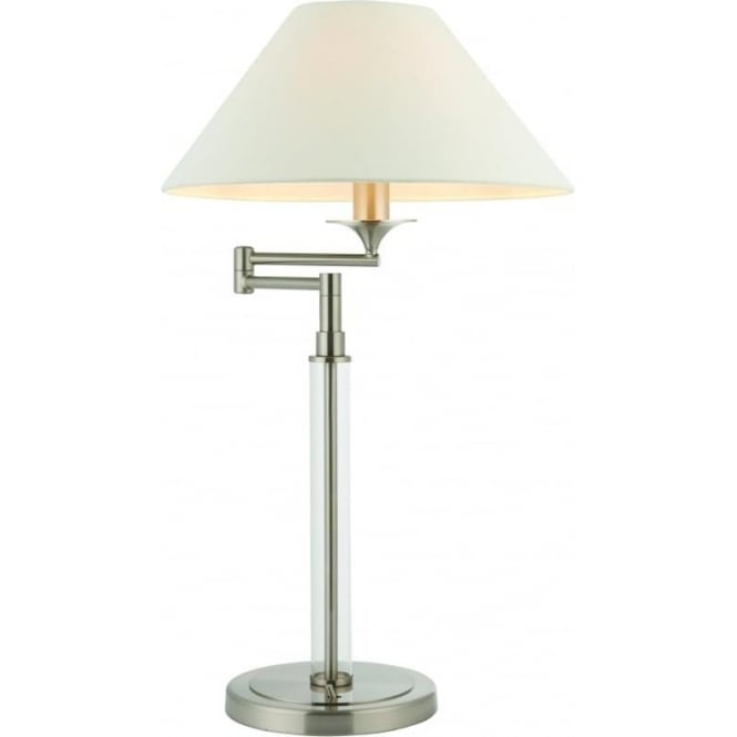 Endon Lighting Kingston swing arm table lamp - Satin nickel with clear glass & vintage white faux linen shade