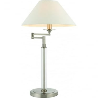 Kingston swing arm table lamp - Satin nickel with clear glass & vintage white faux linen shade