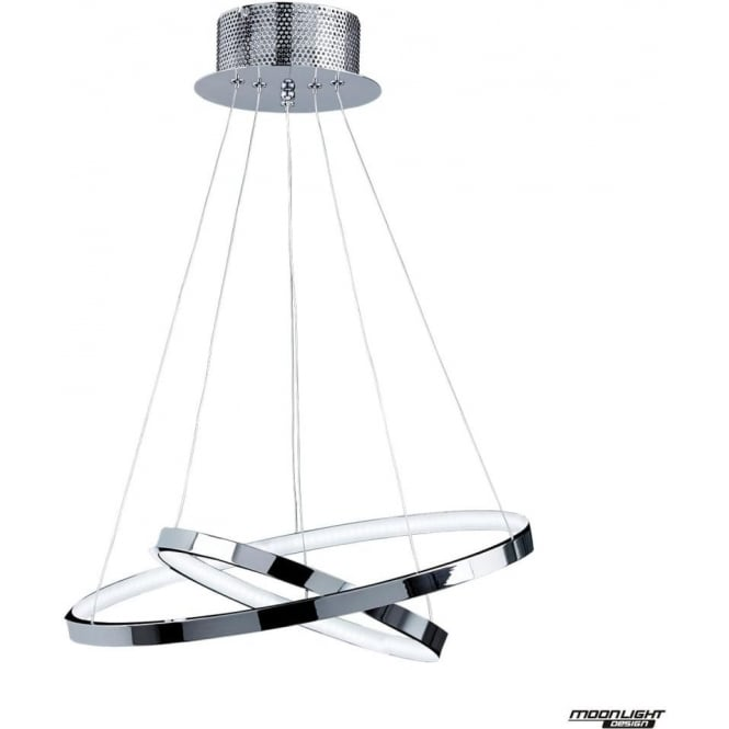 Endon Lighting Kline 2 ring pendant - chrome plate & frosted acrylic