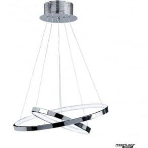 Kline 2 ring pendant - chrome plate & frosted acrylic