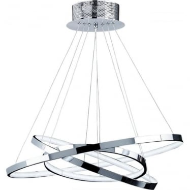 Kline 3 Ring Pendant - Chrome Plate & Frosted Acrylic