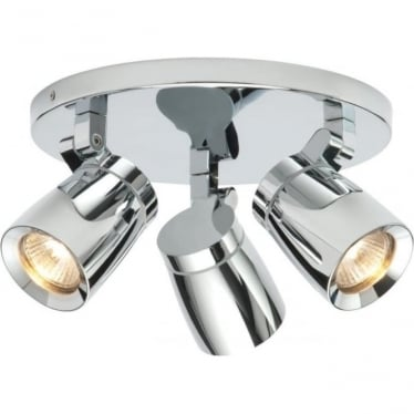 Knight 3 light round Ceiling Light IP44  - Chrome Finish