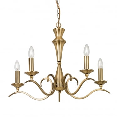 Kora 5 light pendant - Antique brass
