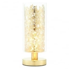 Lacy table lamp - Clear glass & brass plate