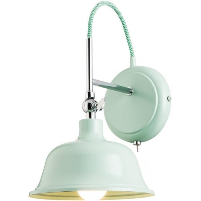 Endon Lighting Laughton Single wall light -  Light Green Finish