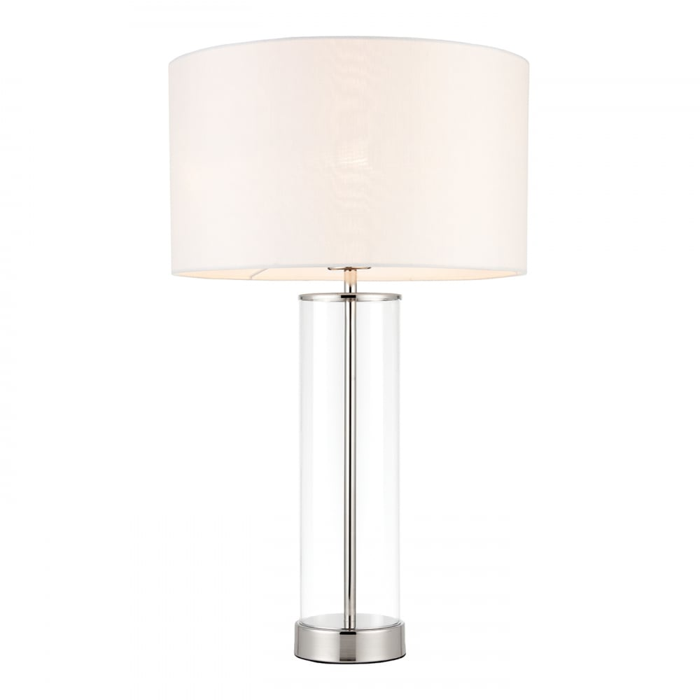 in linen brushed p lamps with white lamp shade alsy nickel table