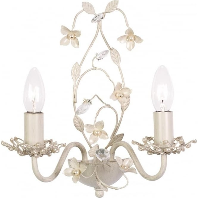 Endon Lighting Lullaby 2 light wall fitting - cream brushed gold, clear & pearl acrylic