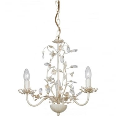 Lullaby 3 Light Pendant 60W - Cream/Brushed Gold & Clear/Pearl Acrylic