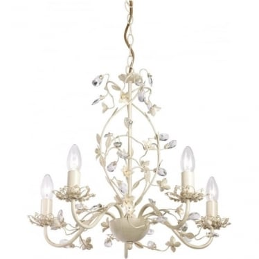 Lullaby 5 light pendant - Cream brushed gold, clear & pearl acrylic