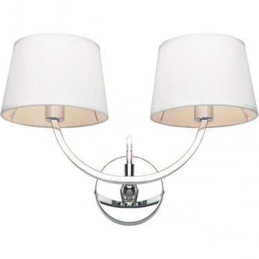 Macy 2 Light Wall Fitting - Chrome plate & off white cotton mix