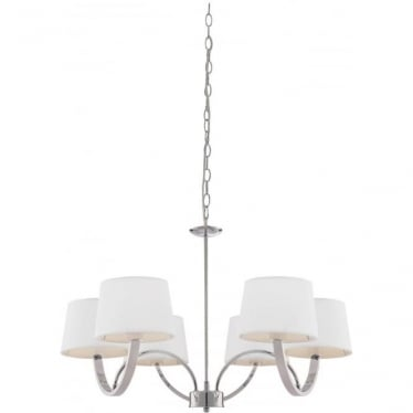 Macy 6 Light Pendant - Chrome Plate & Off White Cotton Mix