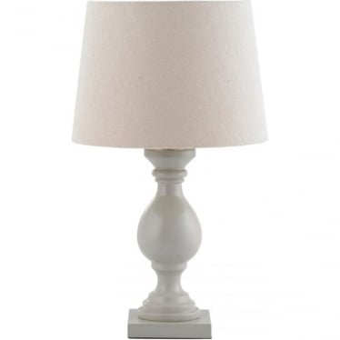 Marsham Table Lamp - Taupe Painted Wood & Ivory Faux Linen