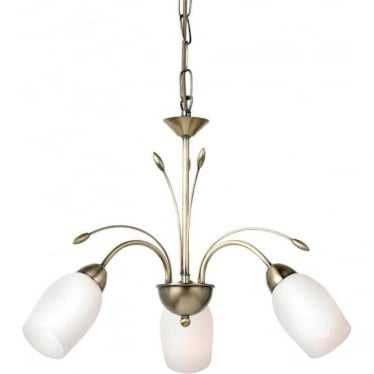 Meadow 3 light pendant - Antique brass & white glass