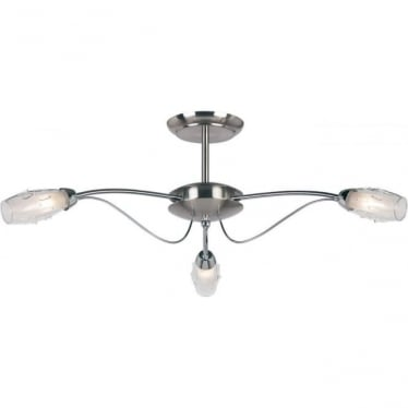 Mercury 3 light semi flush ceiling fitting - Satin chrome with clear & frosted glass