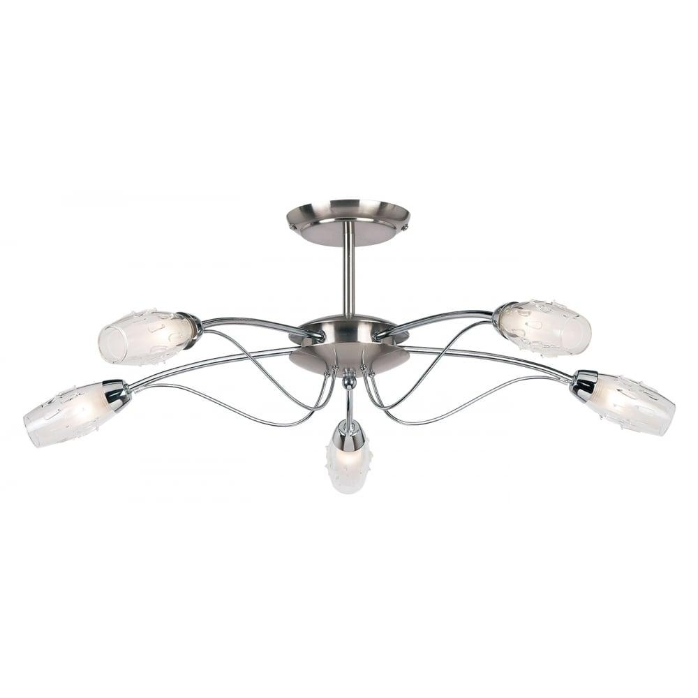 Endon Lighting Endon Lighting Mercury 5 light semi flush ceiling ...