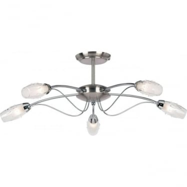 Mercury 5 light semi flush ceiling fitting - Satin chrome with clear & frosted glass