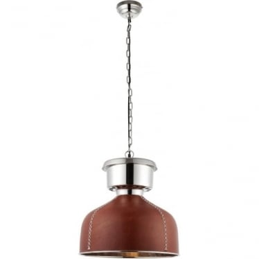 Michigan 1 Light Pendant - Brown Leather & Nickel