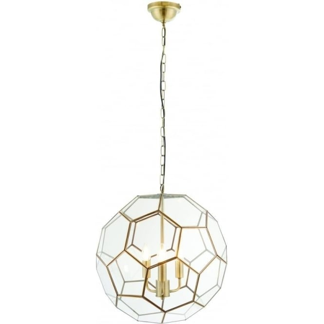 Endon Lighting Miele 3 light pendant - antique brass & clear glass