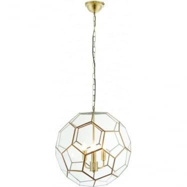 Miele 3 light pendant - antique brass & clear glass