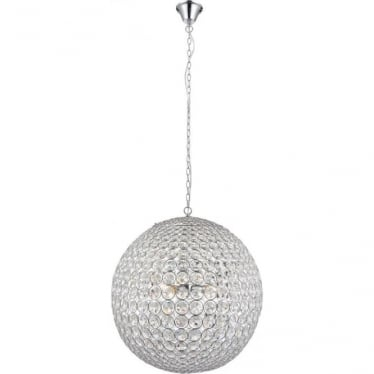 Miley 4 light pendant - clear crystal glass & chrome plate