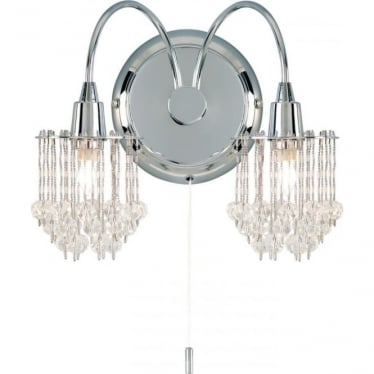 Milieu 2 light wall fitting - Chrome plate & clear faceted glass