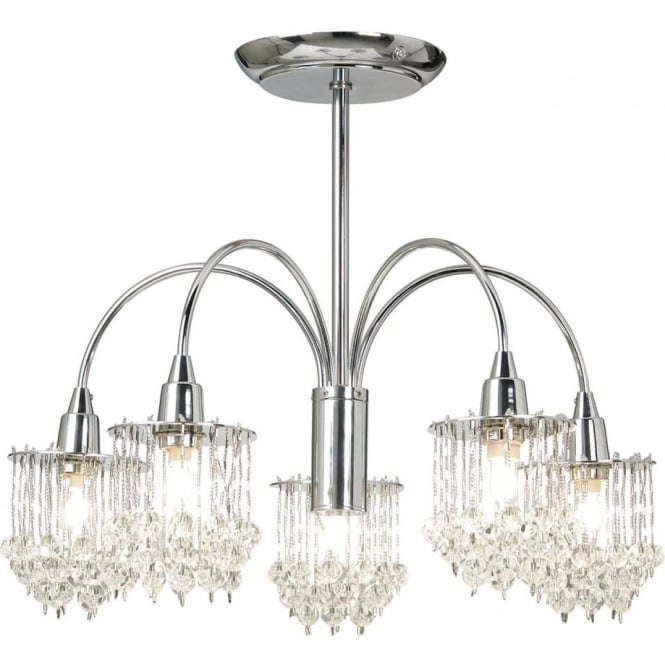 Endon Lighting Milieu 5 light semi flush fitting - Chrome plate & clear faceted glass