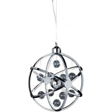 Muni 390mm Pendant - Chrome Plate with Clear & Chrome Glass - Medium