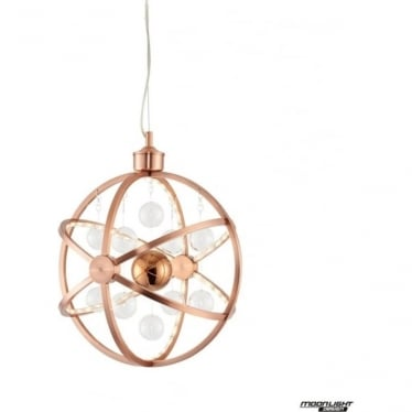 Muni 390mm Pendant - Copper with Clear & Copper Glass - Medium