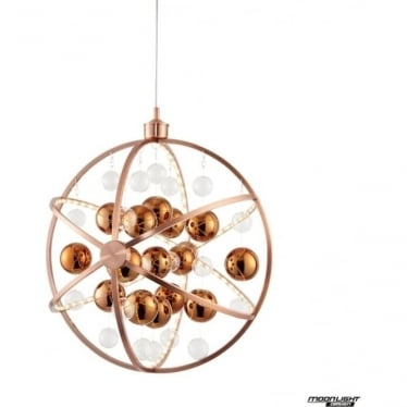Muni 600mm Pendant - Copper With Clear & Copper Glass