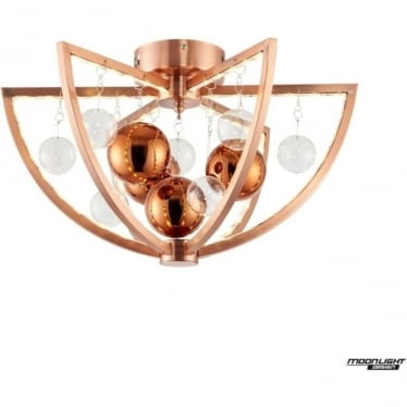 Muni Single Flush Fitting - Copper with Clear & copper Glass