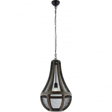 Nadina single light pendant - Dark wood & brown painted mesh